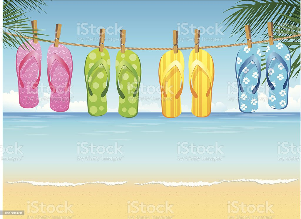 Four colorful pairs of flip flops hanging on tropical beach royalty-free stock vector art
