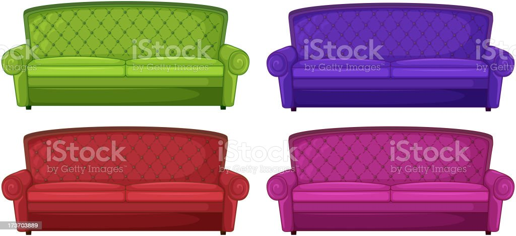 Four colorful sofas royalty-free stock vector art