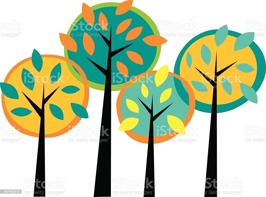 Four colorful trees vector art illustration
