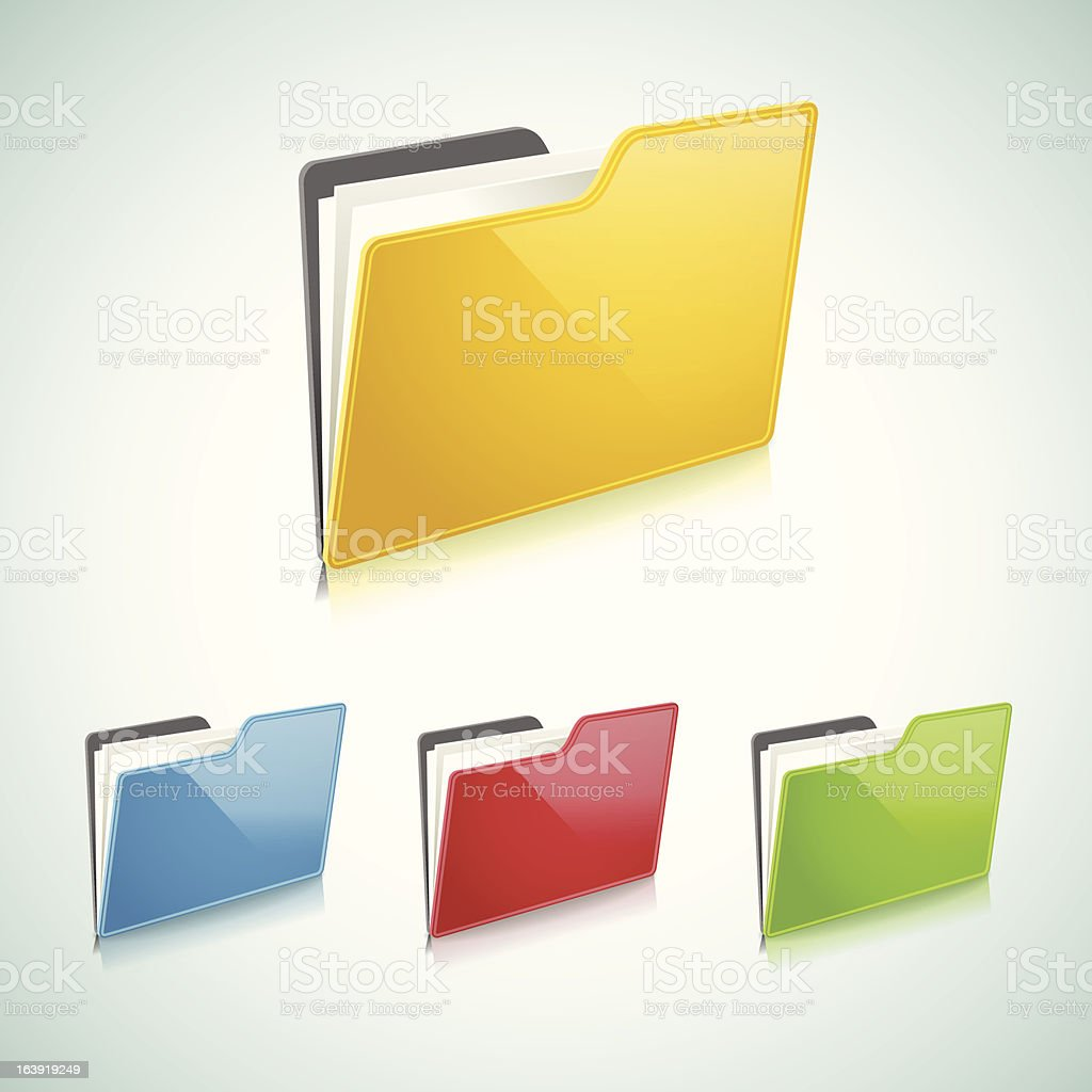 Four colors of manila folder icons  royalty-free stock vector art