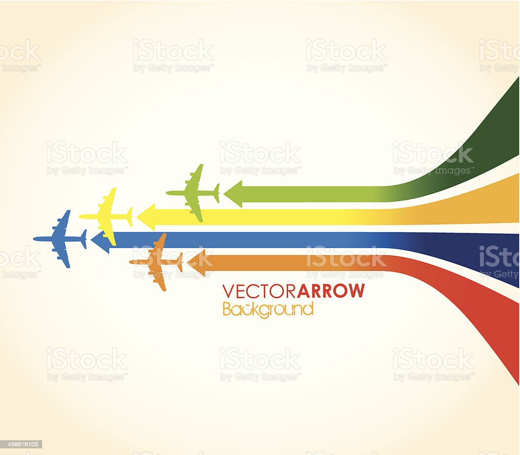 four colourful airplanes vector art illustration