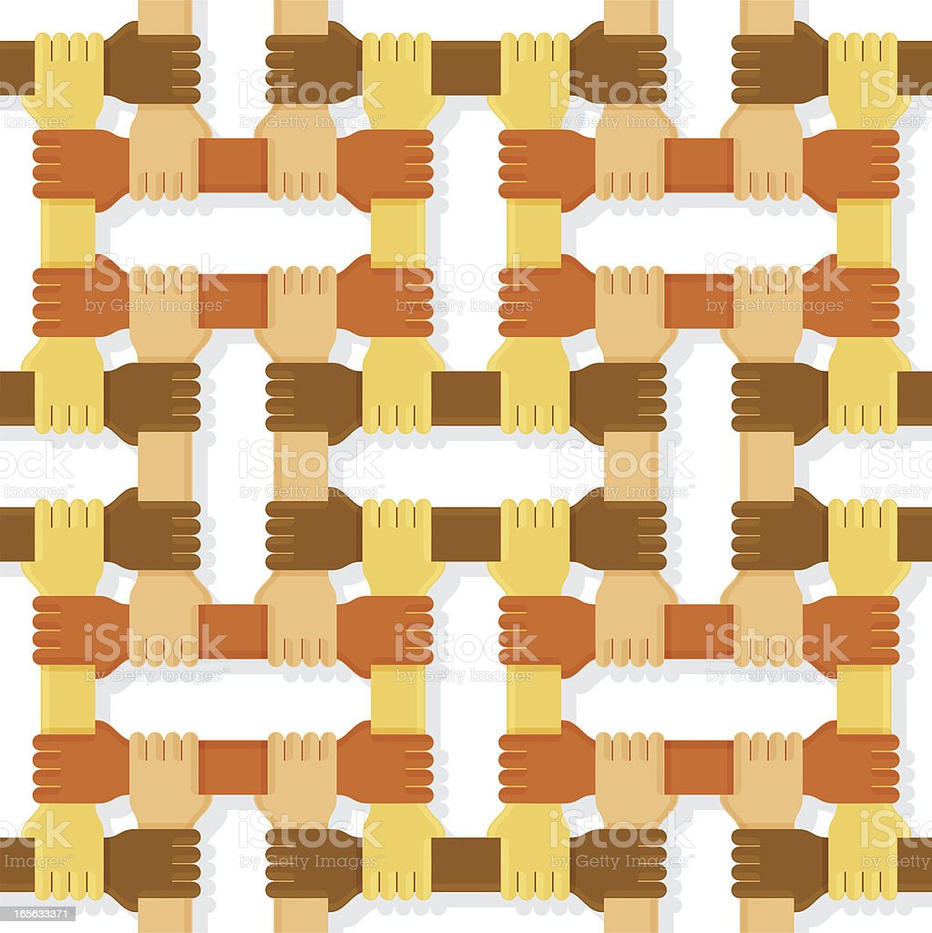 Four colours hands pattern vector art illustration