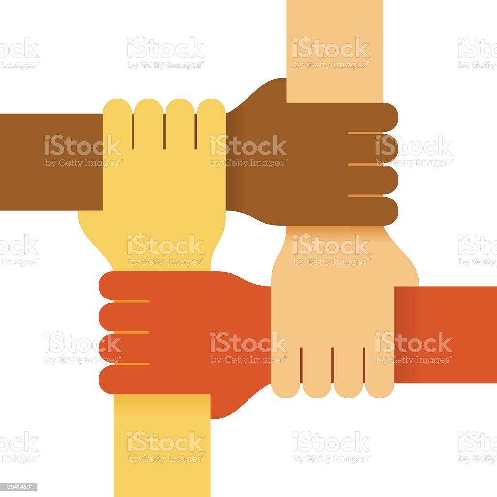 Four colours hands vector art illustration