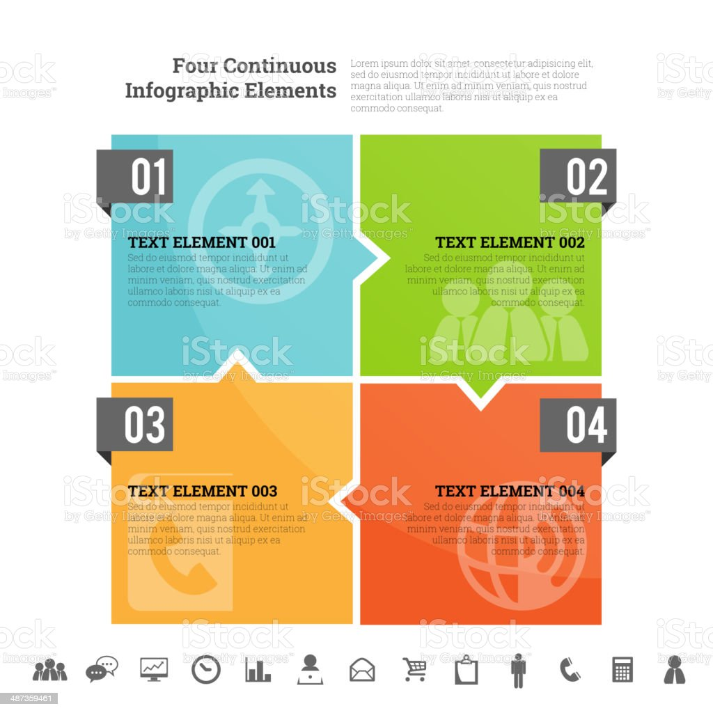 Four Continuous Infographic Elements vector art illustration