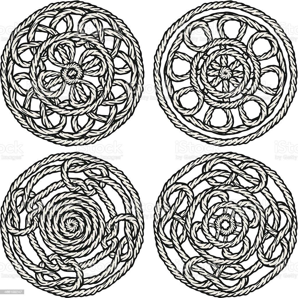 four cord ornaments vector art illustration