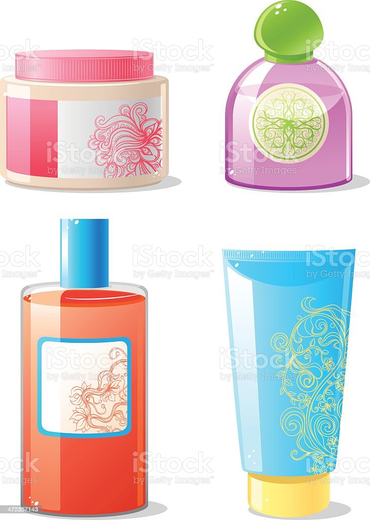 four cosmetics containers royalty-free stock vector art