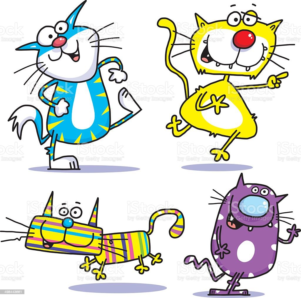 Four Crazy Cats stock vector art 498443661 | iStock