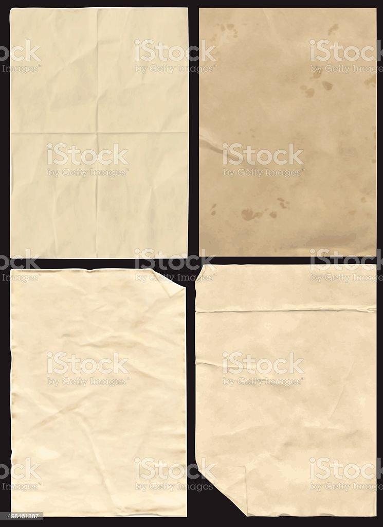 Four Crumpled Paper Texture vector art illustration