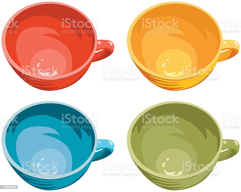 Four Cups vector art illustration