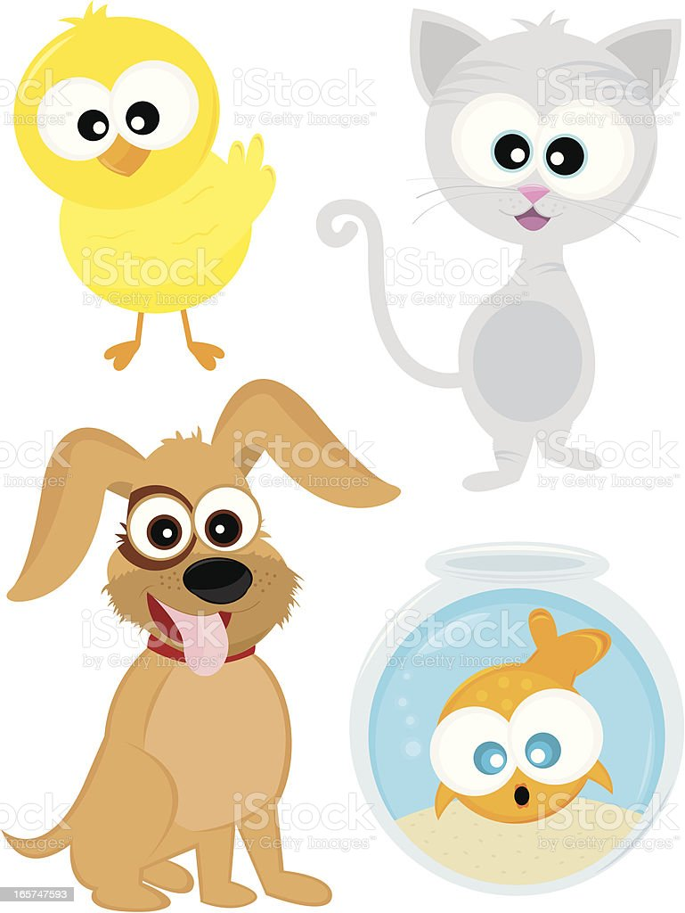 Four Cute House Pets: Bird, Cat, Dog, and Fish. vector art illustration