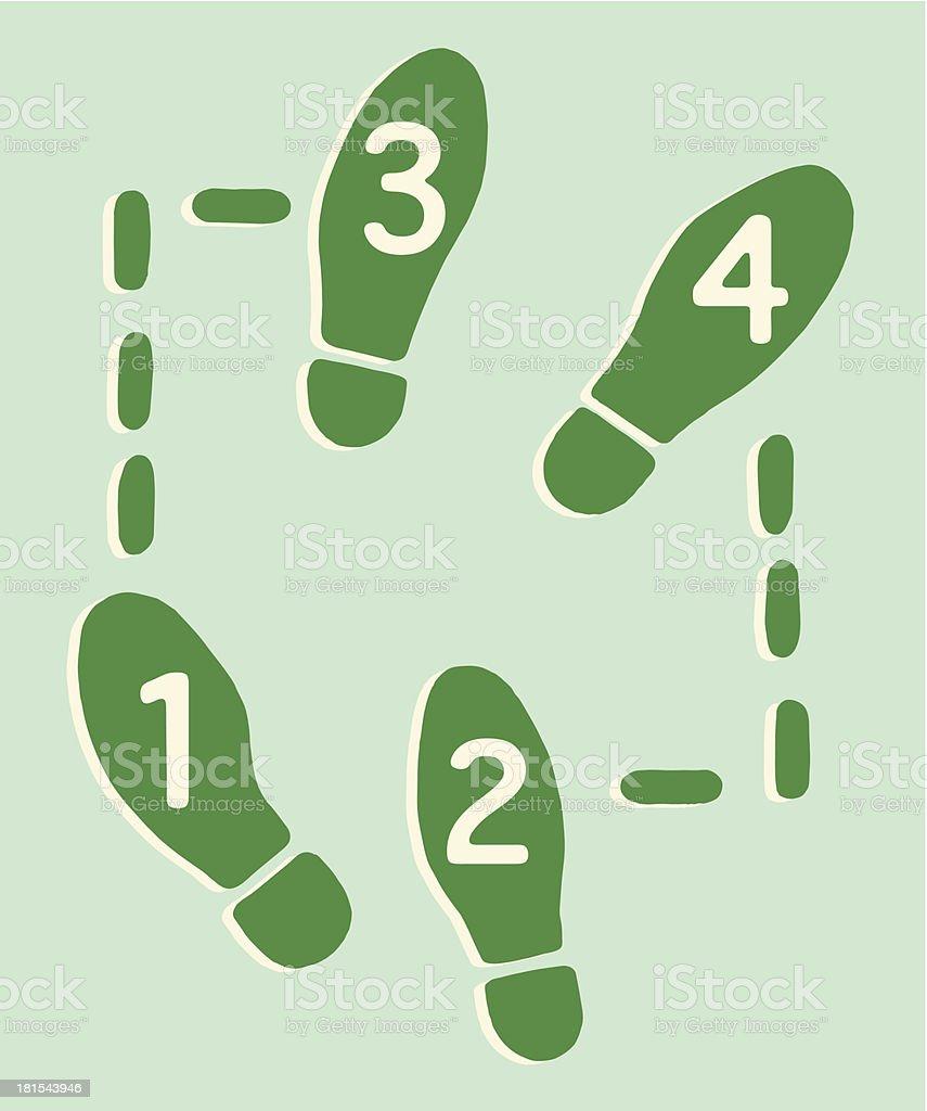 Four Dance Steps vector art illustration