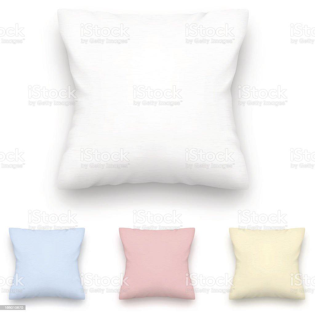 Four decorative square throw pillows plain pastel photos vector art illustration