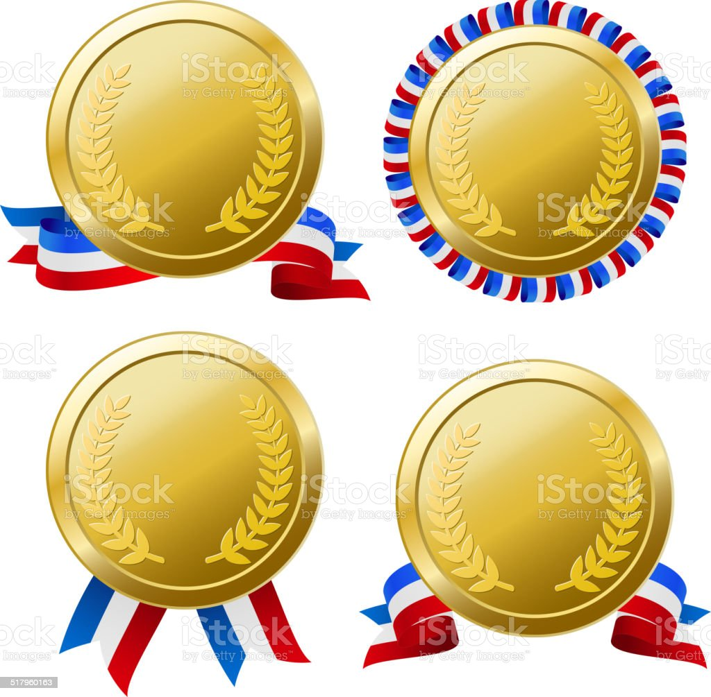 Four Difference Type Medals vector art illustration