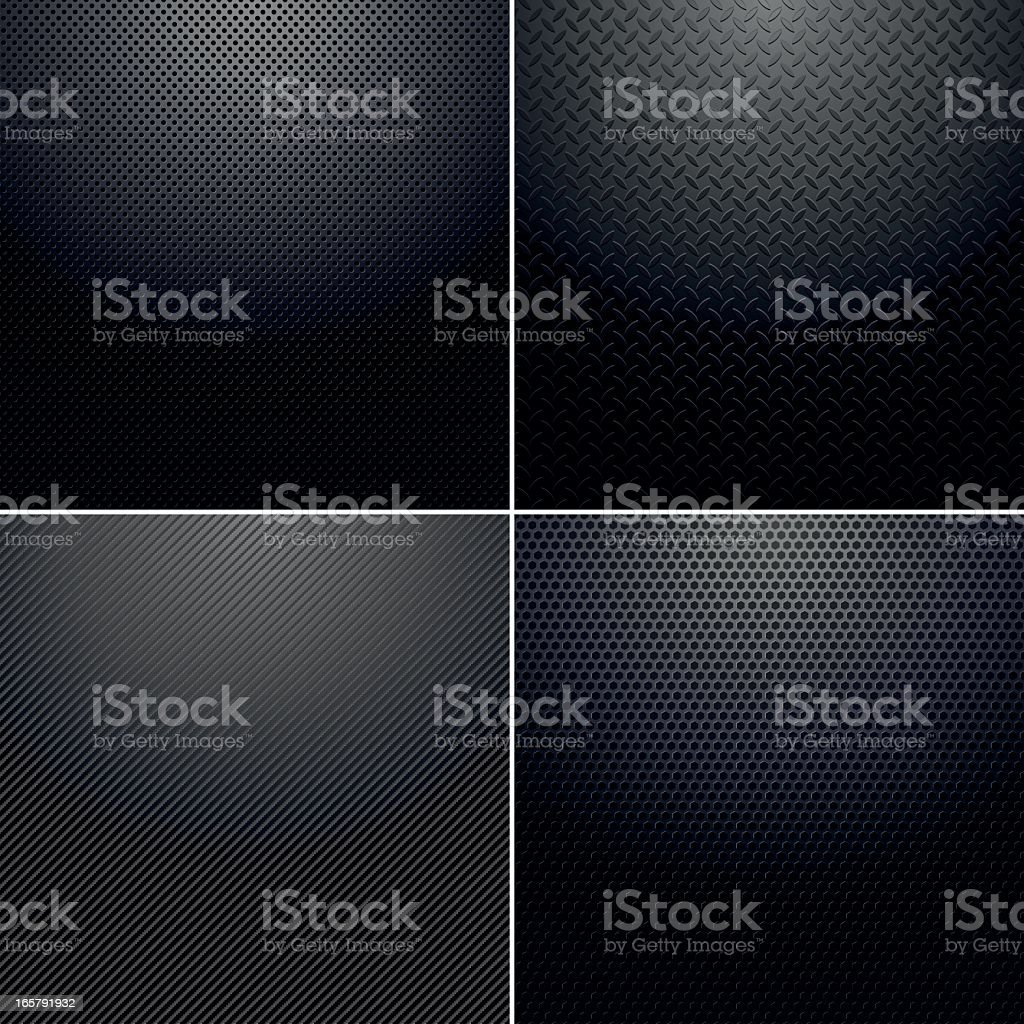 Four different back metallic backgrounds royalty-free stock vector art