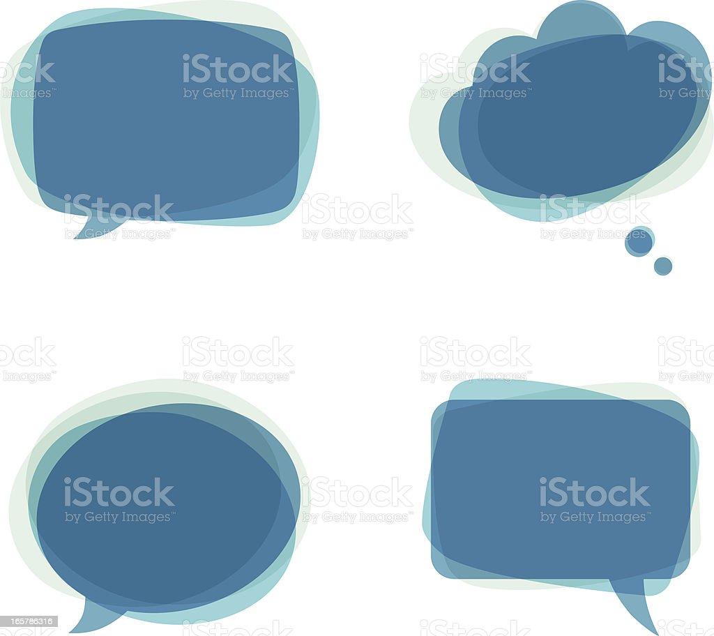 Four different blue speech bubbles  royalty-free stock vector art