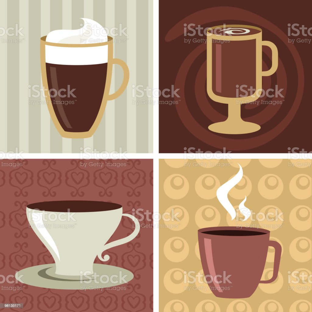Four different coffee mugs and cups royalty-free stock vector art