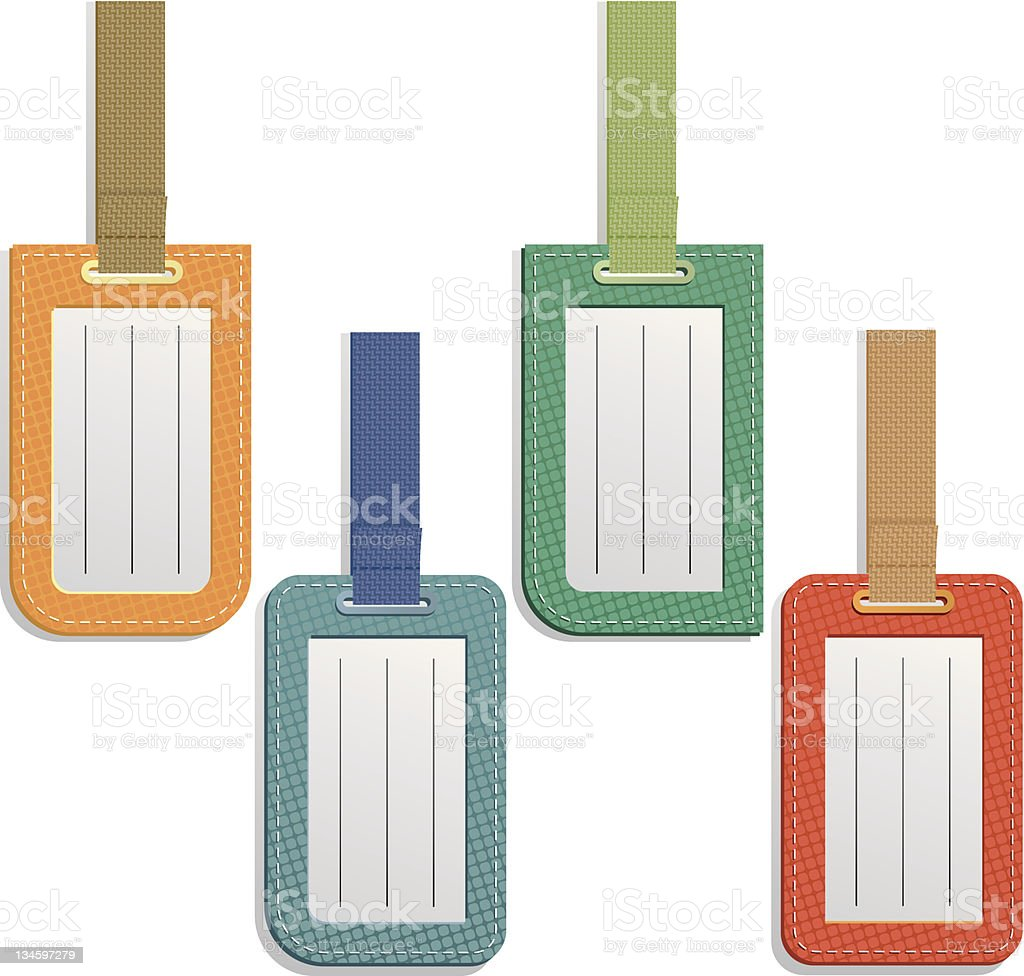 Four different colored luggage tags all blank vector art illustration