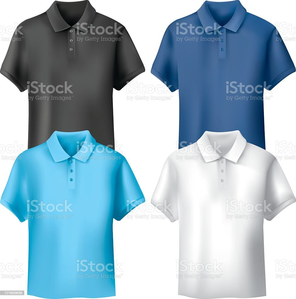 Four different colored men's polo shirts vector art illustration