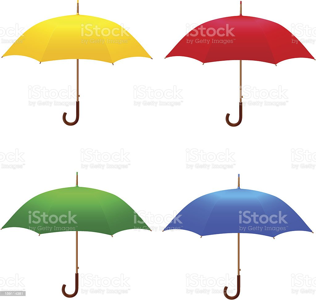 Four different colored umbrellas royalty-free stock vector art