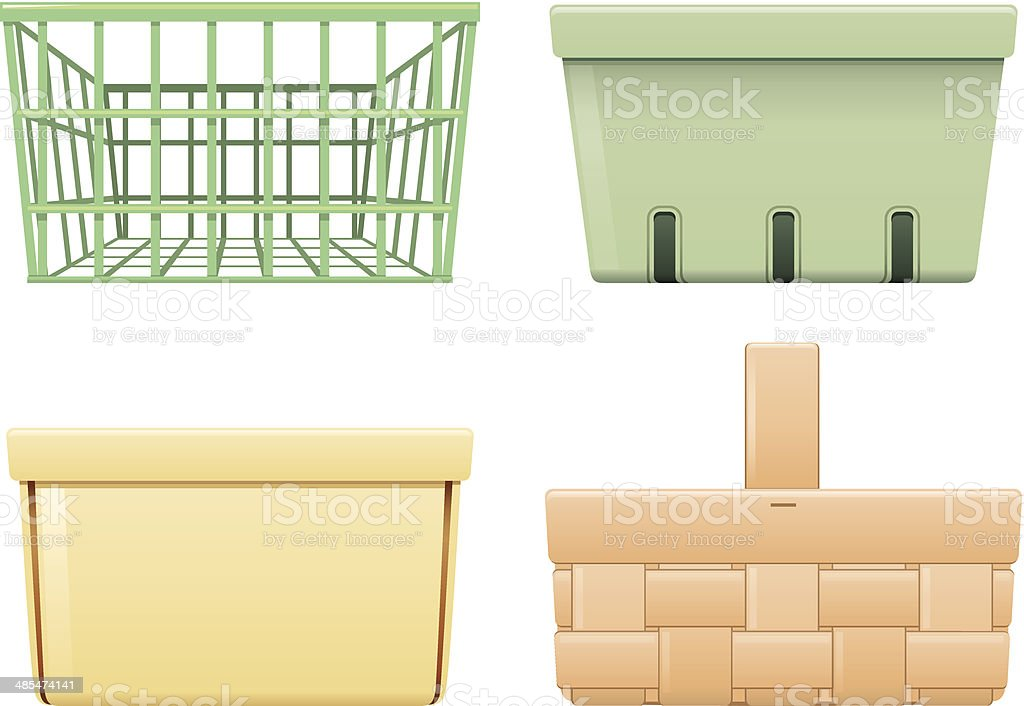 four different empty baskets on a white background vector art illustration
