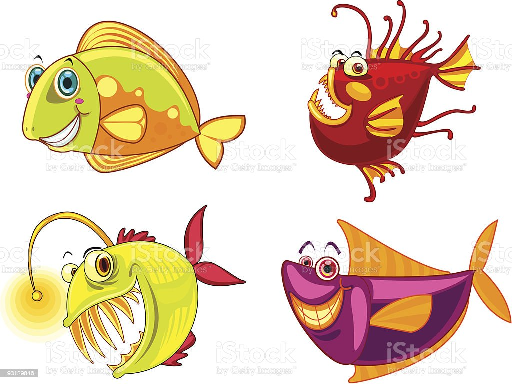four different fish royalty-free stock vector art