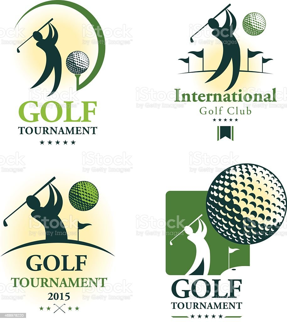 Four different golf tournament emblems vector art illustration