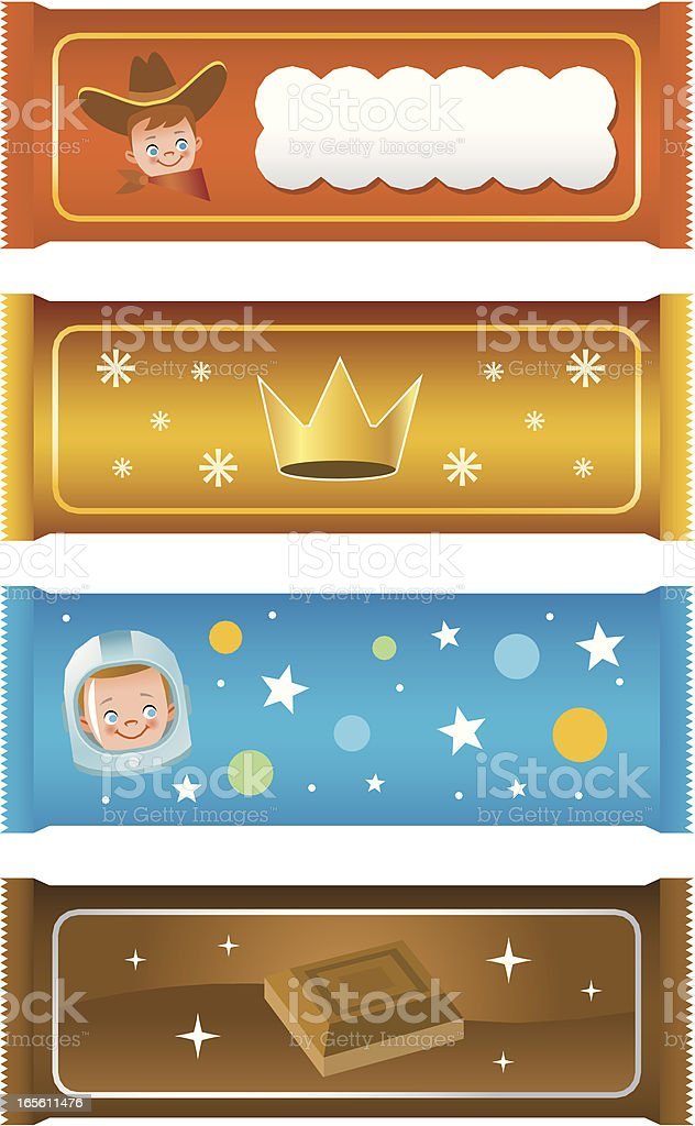 Four different illustrations of candy bars royalty-free stock vector art