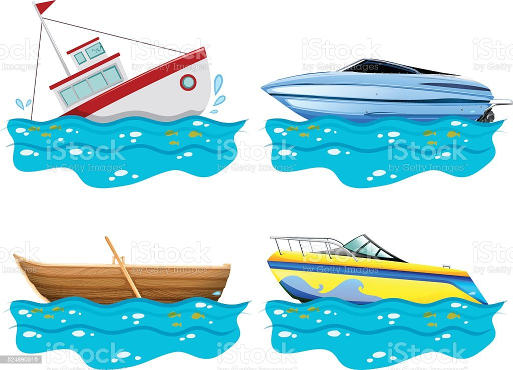 Four different kind of boats vector art illustration
