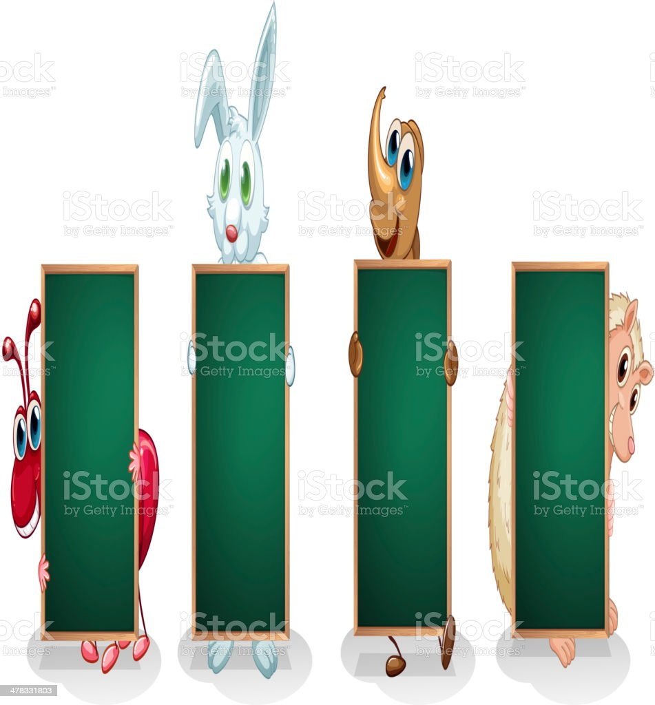Four different kinds of animals with empty boards royalty-free stock vector art