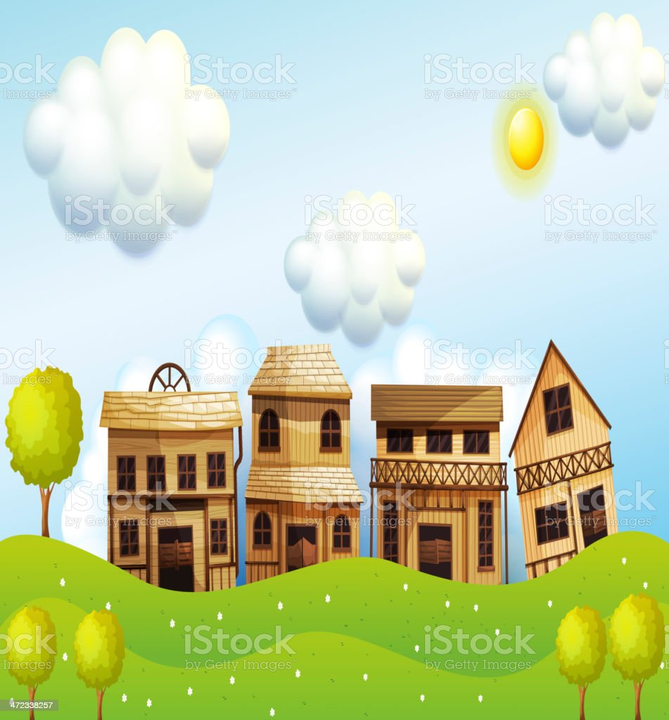 Four different kinds of wooden house royalty-free stock vector art