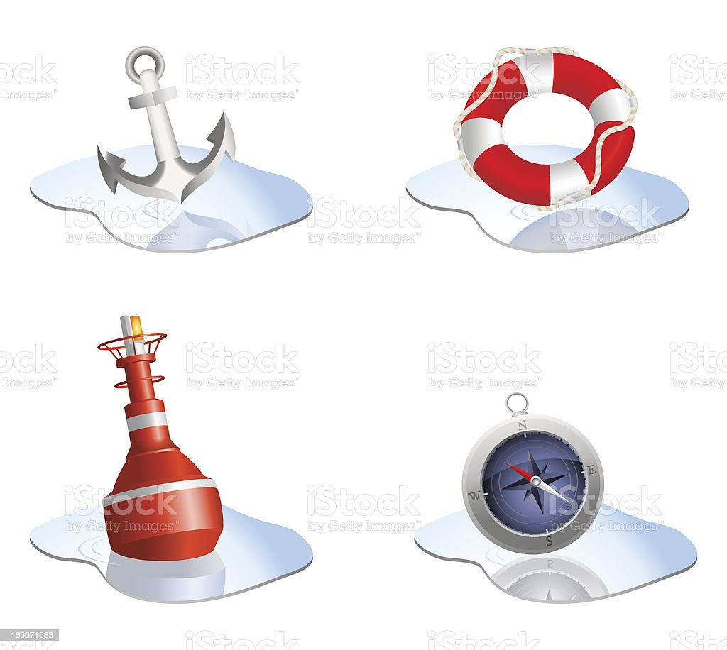 Four different nautical themed icons royalty-free stock vector art
