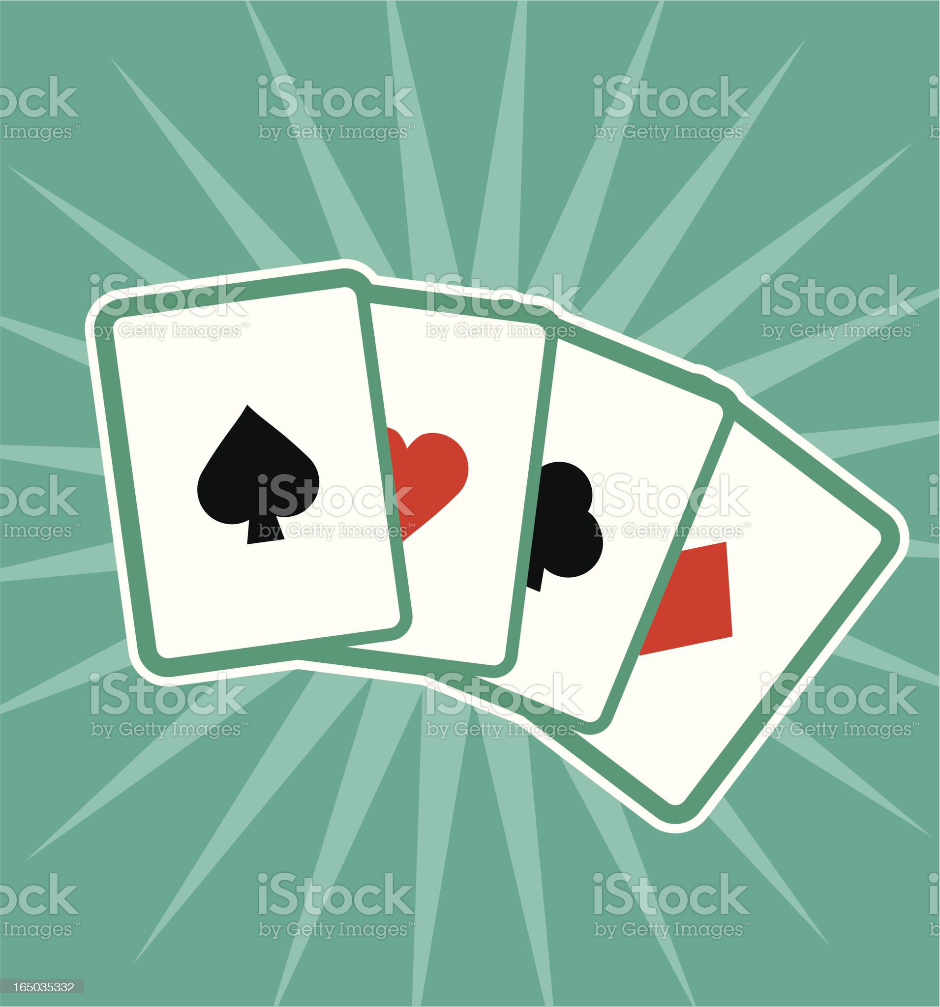Four different playing cards showing each suit  royalty-free stock vector art