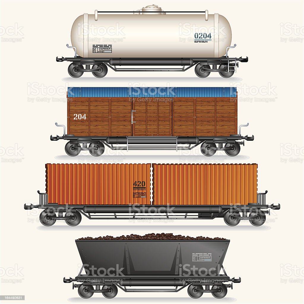 Four different types of cargo train wagons on white vector art illustration
