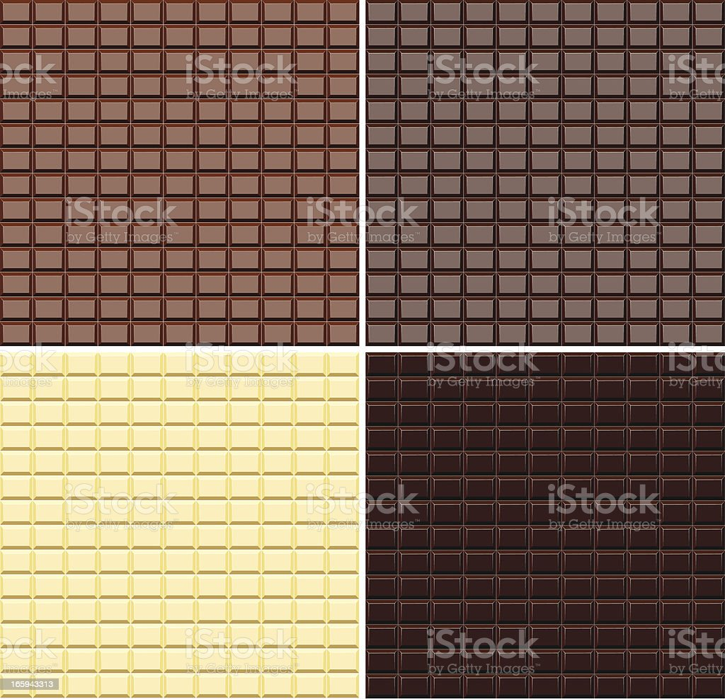 Four different types of chocolate in bars royalty-free stock vector art