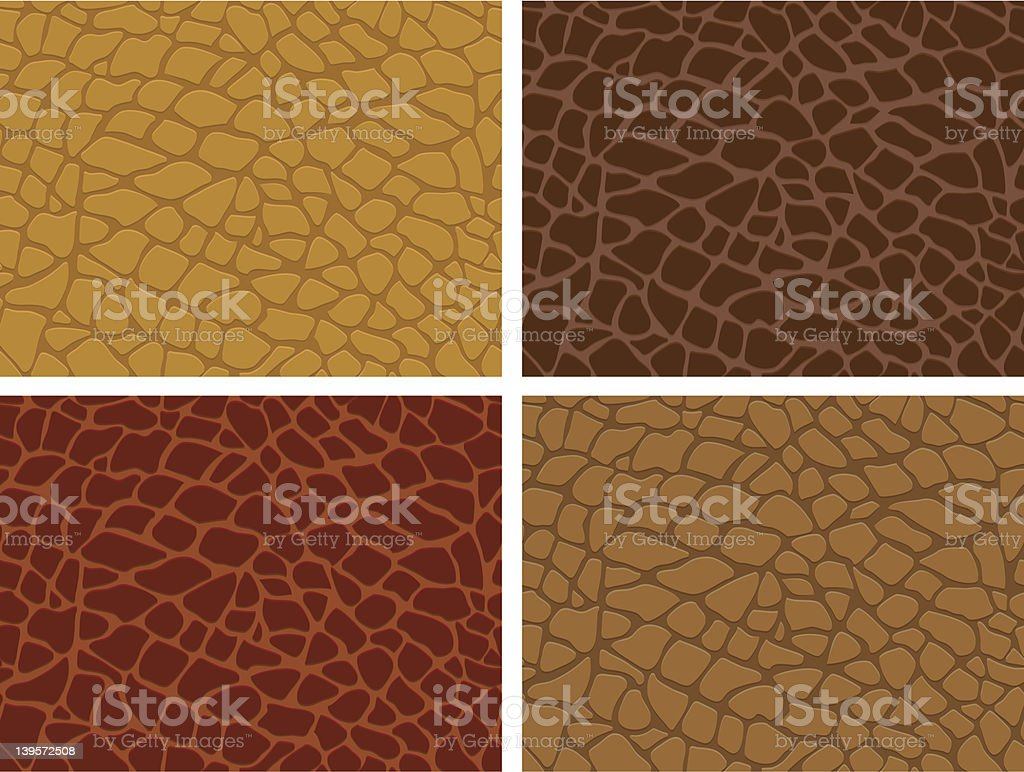 Four different vector animal skin textures vector art illustration