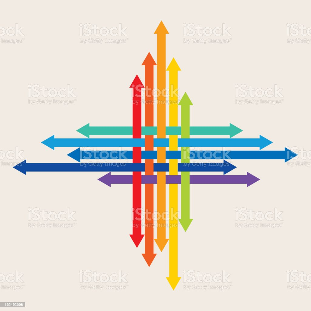 Four directions of the arrow vector art illustration