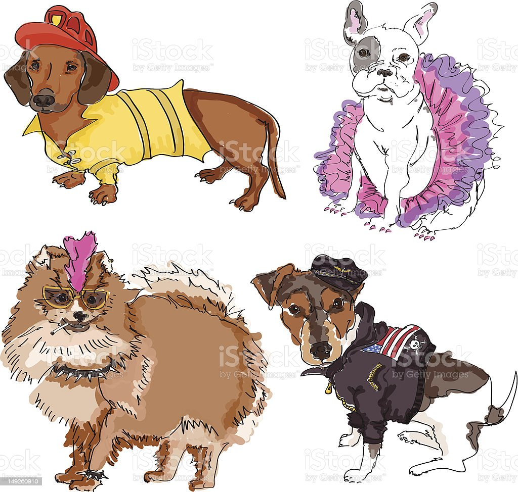 Four Dogs in Costume vector art illustration