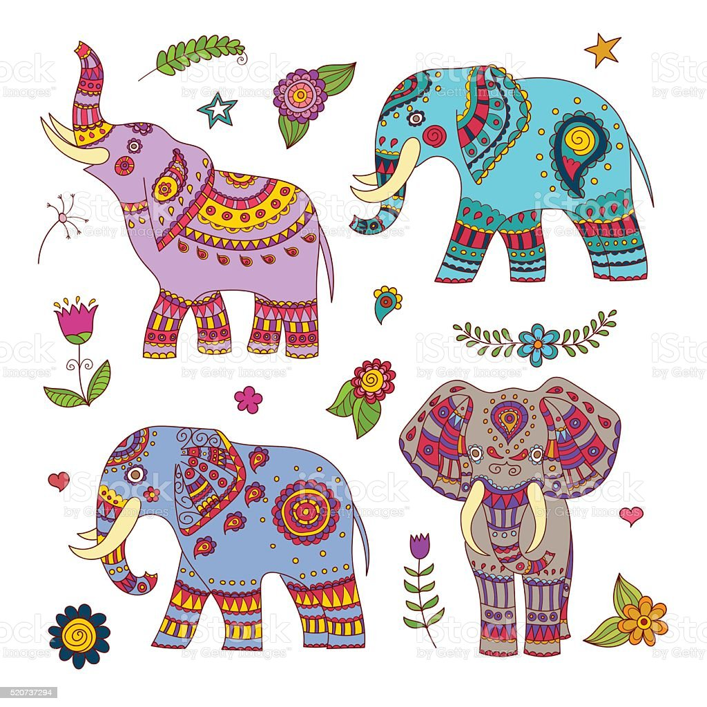 Four doodle vector elephants and floral elements for design vector art illustration