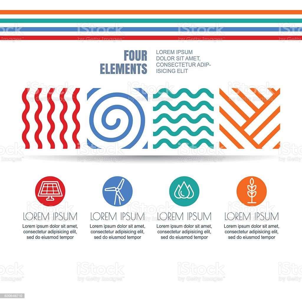 Four elements abstract symbols and alternative energy icons vector art illustration