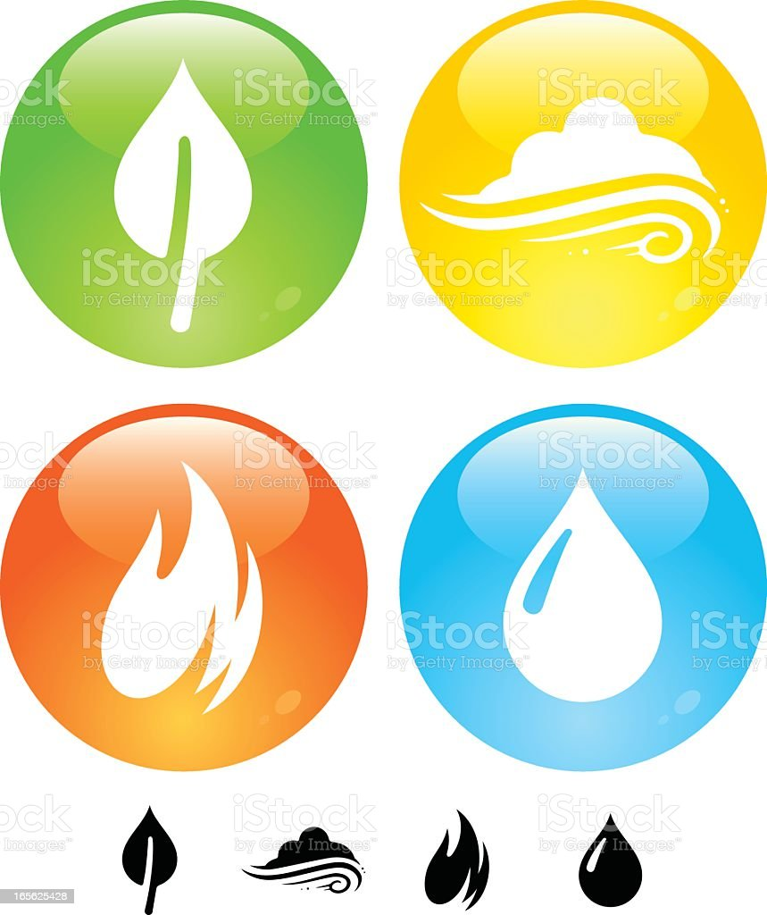 Four Elements Buttons vector art illustration
