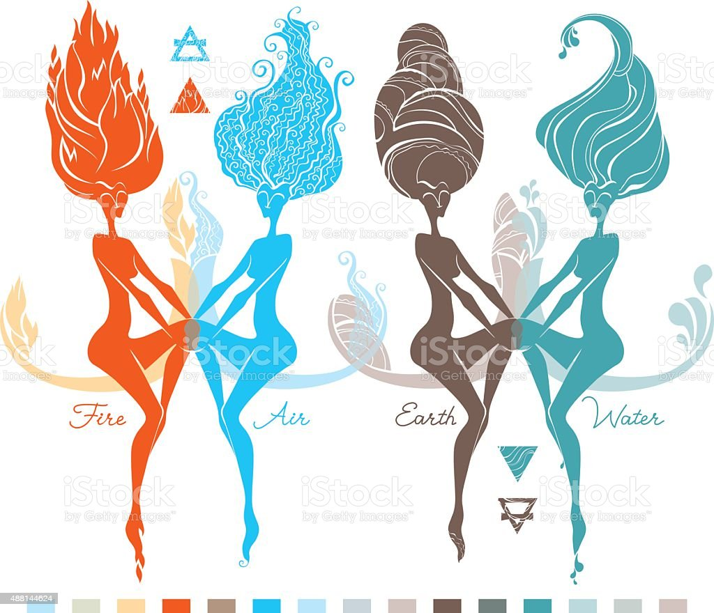 Four Elements. Fire, Water, Air, Earth. vector art illustration