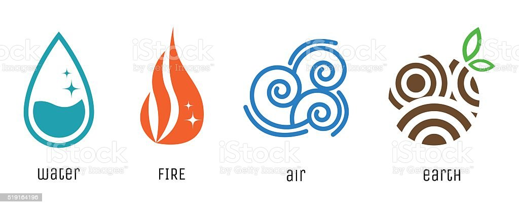Four elements flat style symbols. Water, fire, air, earth signs vector art illustration