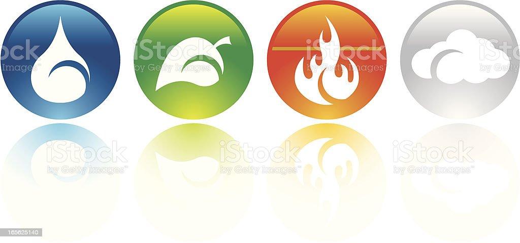 Four elements icons vector art illustration