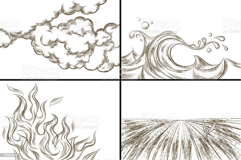 Four Elements (one-color version) vector art illustration