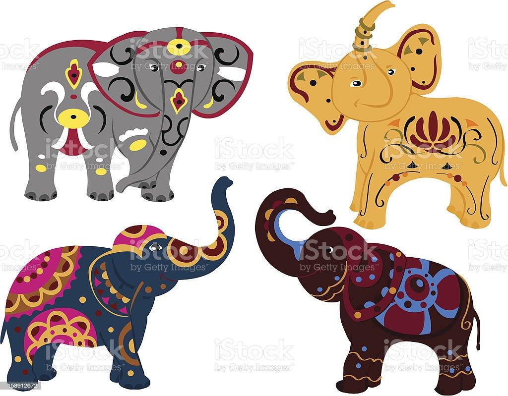 Four elephants royalty-free stock vector art