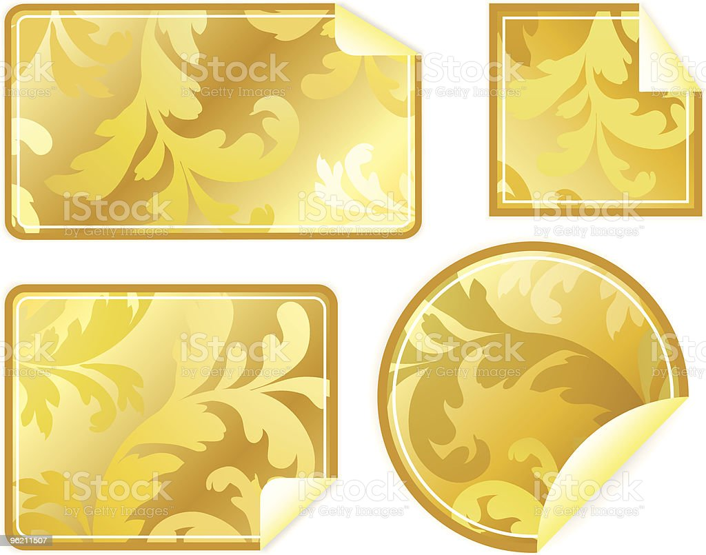 Four empty labels with the wrapped up corner royalty-free stock vector art