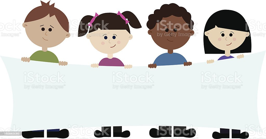 Four Ethnic Children Holding Banner for Your Message! royalty-free stock vector art