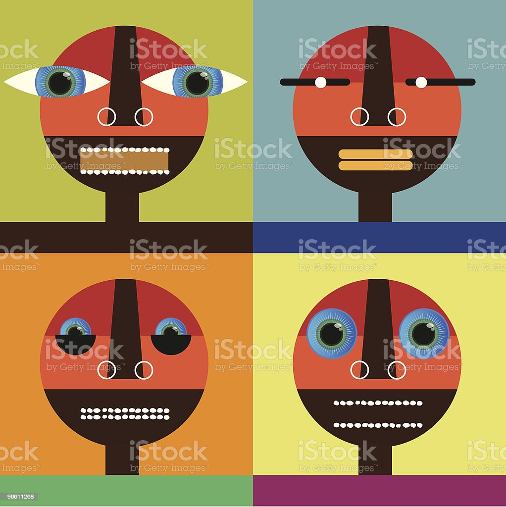 Four Faces royalty-free stock vector art