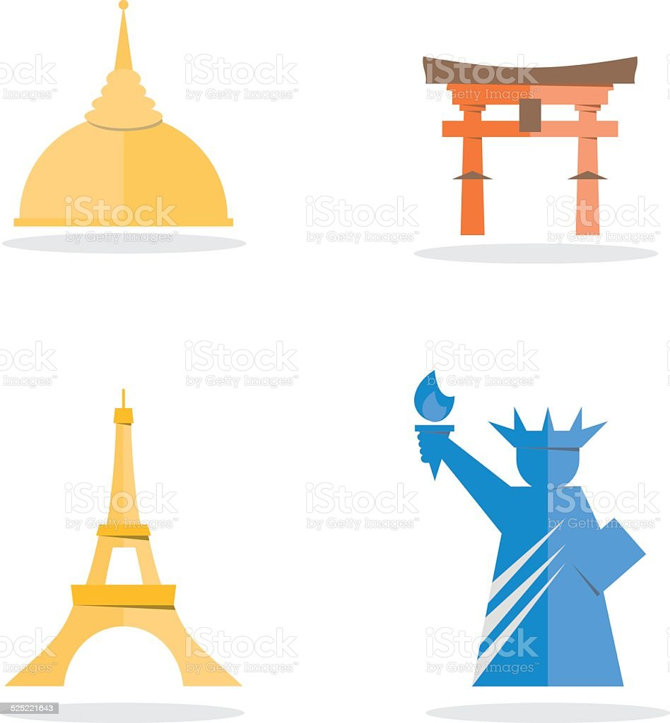 Four famous landmark icon vector art illustration