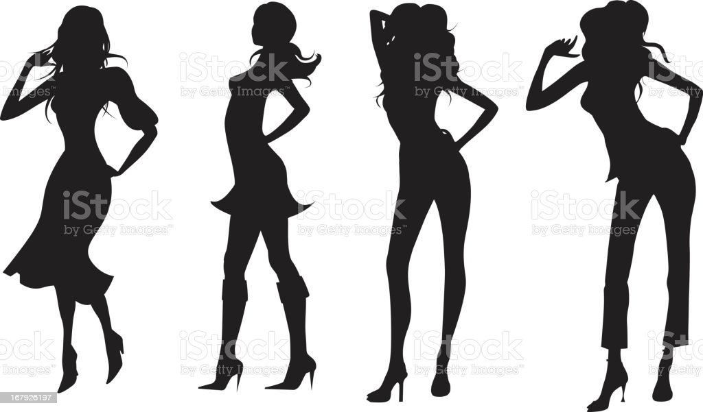 Four fashionable women in silhouette royalty-free stock vector art